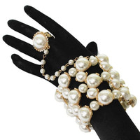 gold faux cream pearl crystal cuff bangle hand bracelet ring bridal prom