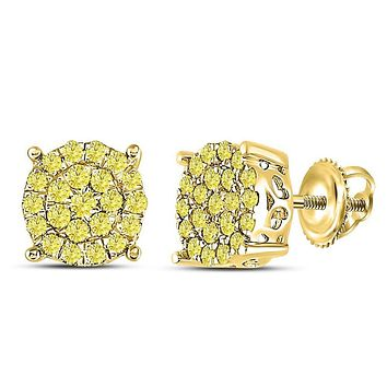 10kt Yellow Gold Round Canary Diamond Concentric Cluster Earrings 3/4 Cttw