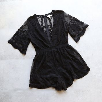 as you wish embroidered lace romper (women) - black