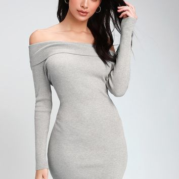 Mademoiselle Light Grey Ribbed Off-the-Shoulder Bodycon Dress