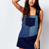 Boohoo Patchwork Denim Pinafore Dress