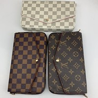 LV Stylish three-piece flip chain bag with one shoulder cross-body bag for ladies