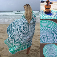 Round Beach Towels Bohemian Style with Tassels. Blanket Yoga Mat