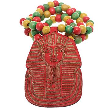 Red Wooden Beaded King Tut Mask Necklace