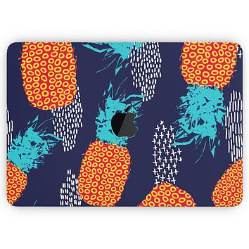 """Retro Summer Pineapple v4 - Skin Decal Wrap Kit Compatible with the Apple MacBook Pro, Pro with Touch Bar or Air (11"""", 12"""", 13"""", 15"""" & 16"""" - All Versions Available)"""