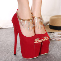 2016 Spring Autumn Open Toe Pumps Sexy Thin High Heel Platform Women Single Shoes Ankle Strap Rhinestone Buckle Female Shoes