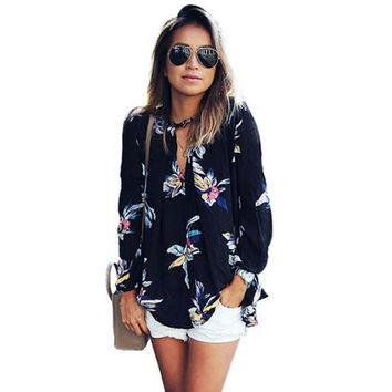 JECKSION Womens Chiffon Blouse 2016 Fashion Floral Printing Loose Long Sleeve Tops V-Neck Lady Clothes
