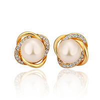 Lady's Brass Gold Plated Tying the Knot Stud Earrings with Faux Pearl Surrounded by Clear Swarovski Elements Stones