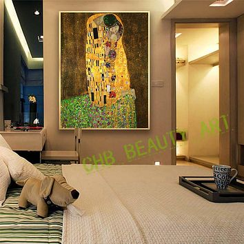 2017 Gustav Klimt Kiss Printed Painting On Canvas Wall Art Picture For Living Room Home Decor Or Hotel Unframed