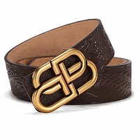 Balenciaga Fashion Women Men Double BB Metal Buckle Belt Embossing Belt Coffee