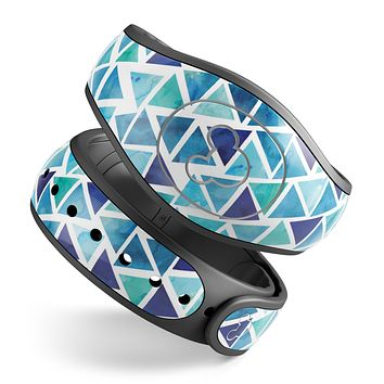 Blue Watercolor Triangle Pattern - Decal Skin Wrap Kit for the Disney Magic Band