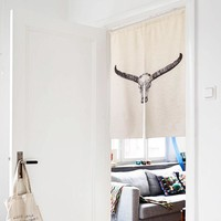 "Japanese Noren Doorway Curtain / Tapestry 33.5"" Width x 47.2"" Long with Bull"