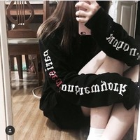 Pullover Korean Long Sleeve Tops Hoodies [46989639692]