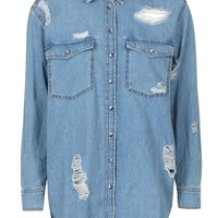 MOTO Ripped Oversized Shirt - Topshop