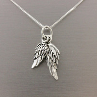 Angel wings necklace, 925 Sterling silver guardian angel necklace, gift for her, Christmas gift, remembrance necklace, you are an angel