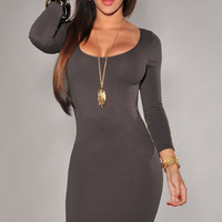 Gray Long Sleeves Scoop Neck Bodycon Mini Dress