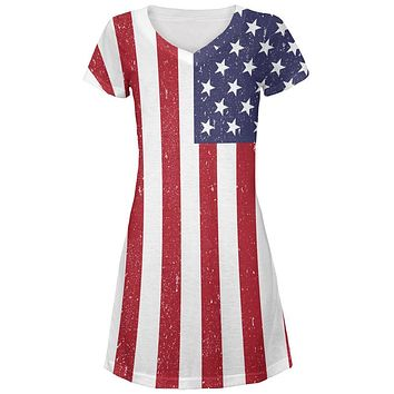 4th of July American Flag Distressed All Over Juniors V-Neck Dress