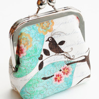 Handmade Coin Purse, Small Snap Frame Wallet , Birds and Cherry Blossoms, Teal and Buttercup - Made To Order