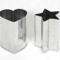 Stainless Steel Vegetable Cutters for Bento Decorating (Heart and Star - 2pc.)