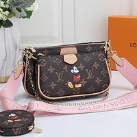 Louis Vuitton LV Women Fashion Leather Crossbody Shoulder Bag Satchel Set Two Piece