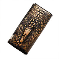 3D Alligator Pattern Long Wallet
