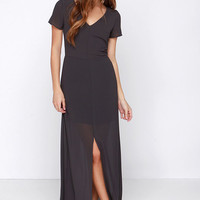 Gown with the Wind Charcoal Grey Maxi Dress