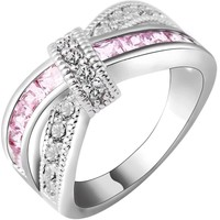 Breast Cancer Awareness Ribbon Gorgeous Inspirational White & Pink Cubic Zirconium White Gold Ring Sz 5-11