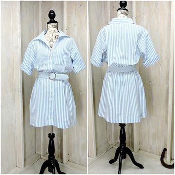 Womens summer dress size M / L 12 / 14 / cute casual seersuker shirt dress / striped button front dress