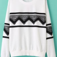 Geometric Print Long Sleeve Sweatshirt