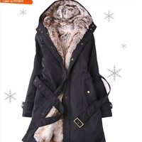 Fashion Women's Winter Long Coat Lady Black Parka Jacket Outerwear = 1929597828