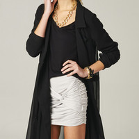 BLACK CHIFFON TRENCH COAT