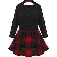 Red and Black Plus Size Checked Skater Dress
