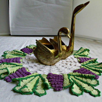 Crocheted Table Doily Doilie Large Round White Purple Grape Green Leaf Design Mid Century