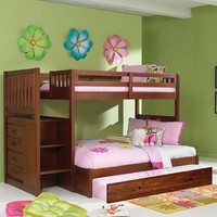 Merlot Twin Full Staircase Bunk with Trundle