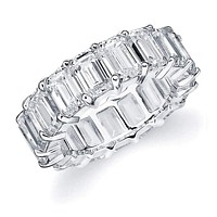 Sterling Silver 925 CZ Women's Eternity Emerald Cut Wedding Engagement Ring 5mm