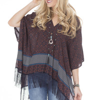 Tribal Print Top with Fringe
