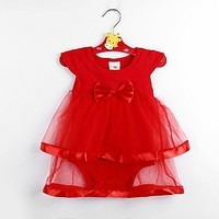 Born Baby Dress Cotton Bow Baby Rompers For girls Kids Clothes Baby Girls Jumpsuit