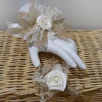 Burlap & Lace Wedding Wrist Corsage and/or Boutonniere, for Rustic, Country, Bohemian, Shabby Chic, Woodland Weddings. Made to Order.