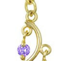 14kt Gold Plated Surgical Steel Fancy Purple CZ Crystal Vine Drop Multi Gem Dangle Belly Button Ring