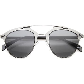 Modern Metallic Double Bridge Pantos Aviator Sunglasses A219