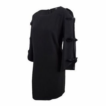 MSK Womens Petite Cutout-Sleeve Shift Dress (14P, Black)