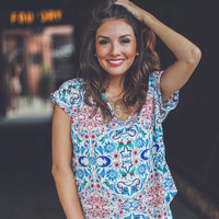 Watercolor Floral Top in White