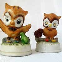 Vintage Owl Friend Figurines Frog and Squirrel (Set of 2)