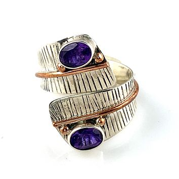Amethyst Adjustable Sterling Silver Leaf Ring