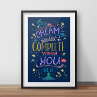 Disney Princess and the Frog Quote Typography Poster Art Print