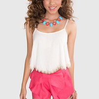 Patty Lace Crop Top - Ivory