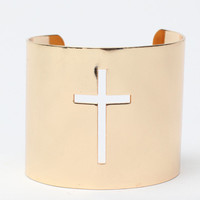 Cross Out Bangle Gold