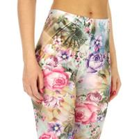 Yellow/Purple Rose Garden Print Cotton Blend Leggings in M/L and XL/2X