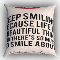 Marylin Monroe Quote Zippered Pillows  Covers 16x16, 18x18, 20x20 Inches