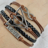 charm bracelets - infinite love braclets with Hunger Games Mocking,braided black leather and brown wax rope best gifts95